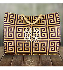 Purple and Gold Greek Key Classic Juco Bag #38077