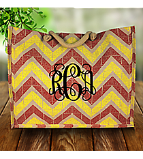 Cardinal Red and Yellow Greek Key Chevron Classic Juco Bag #38109