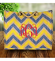 Cerulean Blue and Yellow Greek Key Chevron Classic Juco Bag #38110