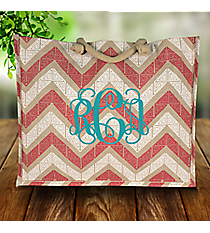 Rose Pink and White Greek Key Chevron Classic Juco Bag #38115