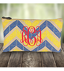 Cerulean Blue and Yellow Greek Key Chevron Juco Cosmetic Bag #38118