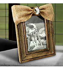 Wooden 4X6 Photo Frame with Jeweled Burlap Bow #38147