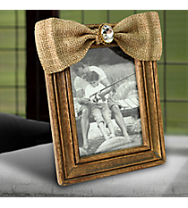Wooden 5X7 Photo Frame with Jeweled Burlap Bow #38148