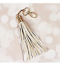 Ivory Faux Leather Tassel Keychain #38619
