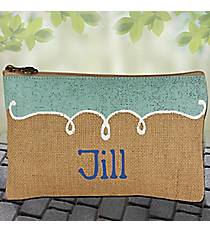 Natural, Sky and White Annie Jute Cosmetic Bag #38623