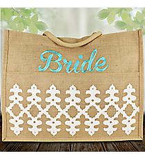 """White and Sky """"Bride"""" Orleans Jute Pocket Tote #38624"""
