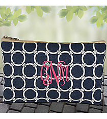 Navy and White Circle Link Jute Cosmetic Bag #38629