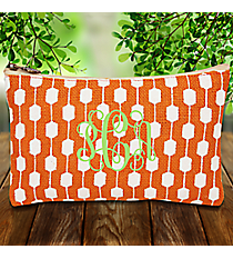 Orange and White Hexagon Link Juco Cosmetic Bag #38630