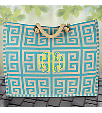 Turquoise and Natural Greek Key City Juco Bag #38632