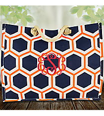 Navy, White, and Orange Honeycomb City Juco Bag #38635