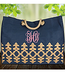 Navy and Gold Orleans Glamour Juco Bag #38639