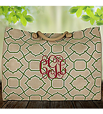 Natural and Lime Trellis Classic Juco Bag #38642