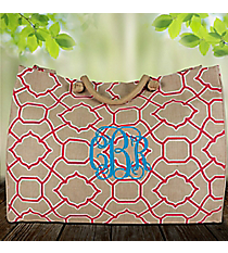 Natural and Pink Trellis Classic Juco Bag #38643