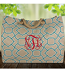 Natural and Turquoise Trellis Classic Juco Bag #38645