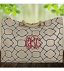 Natural and Navy Trellis Classic Juco Bag #38646