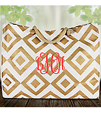 White and Gold Diamond Glamour Juco Bag #38651