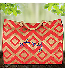Orange and Gold Diamond Glamour Juco Bag #38652