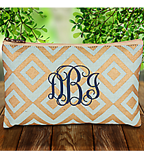 Sky and Gold Diamond Glamour Juco Cosmetic Bag #38654