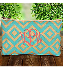 Turquoise and Gold Diamond Glamour Juco Cosmetic Bag #38656