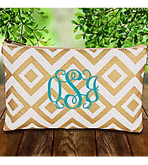 White and Gold Diamond Glamour Juco Cosmetic Bag #38657