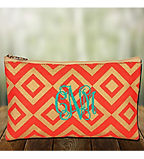 Orange and Gold Diamond Glamour Juco Cosmetic Bag #38658