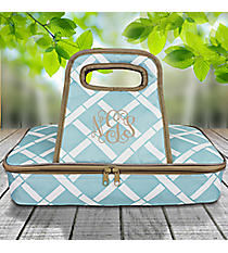 Sky and White Bamboo with Taupe Trim Casserole Tote #38877
