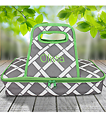Gray and White Bamboo with Lime Trim Casserole Tote #38878