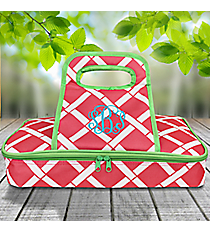 Pink and White Bamboo with Lime Trim Casserole Tote #38879