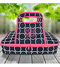 Navy and White Circle Link with Pink Trim Casserole Tote #38880