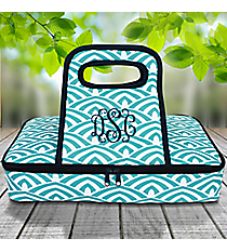Turquoise and White Waves with Navy Trim Casserole Tote #38881