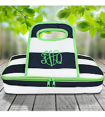 Navy and White Preppy Stripe with Lime Trim Casserole Tote #38883