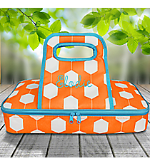 Orange and White Hexagon Link with Turquoise Trim Casserole Tote #38884