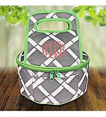 Gray and White Bamboo with Lime Trim Round Casserole Tote #38886