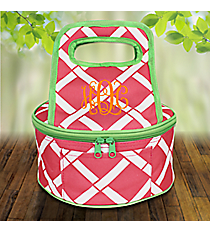Pink and White Bamboo with Lime Trim Round Casserole Tote #38887