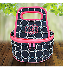 Navy Circle Link with Pink Trim Round Casserole Tote #38888