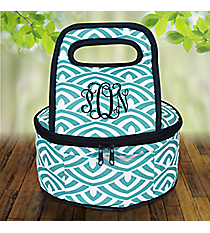 Turquoise and White Waves with Navy Trim Round Casserole Tote #38889