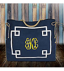 Navy and White Monterey Oversize Jute Tote #38978