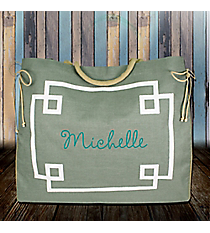 Gray and White Monterey Oversize Jute Tote #38979