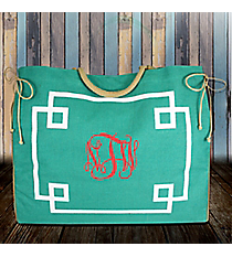 Turquoise and White Monterey Oversize Jute Tote #38980