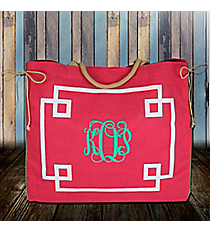 Pink and White Monterey Oversize Jute Tote #38981
