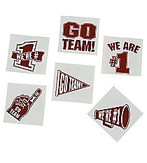 "72 Maroon/Burgundy ""Go Team"" Tattoos #39/2091"