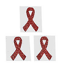 One Dozen Red Ribbon Glitter Tattoos #39/2125