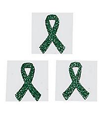 One Dozen Green Ribbon Glitter Tattoos #39/2128