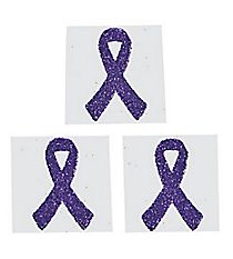 One Dozen Purple Ribbon Glitter Tattoos #39/2130