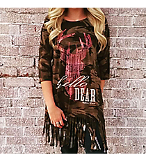 Southern Grace 'Hello Dear' Military Camo Fringed Top #4073B *Choose Your Size