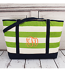 Natural and Lime Stripe Large Canvas Tote with Navy Trim #41004