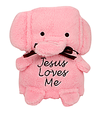 Pink Elephant Baby Blankie With Jesus Loves Me #41128