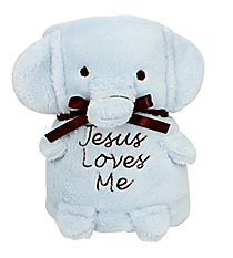 Blue Elephant Baby Blankie With Jesus Loves Me #41135