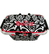 Damask Collapsible Insulated Market Basket with Lid #DMSK658-HPINK