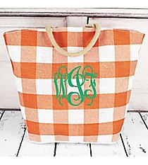 Burnt Orange and White Buffalo Check Jute Bag #41829